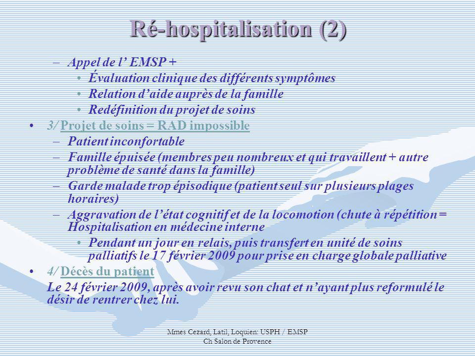 Mmes Cezard, Latil, Loquien: USPH / EMSP Ch Salon de Provence Ré-hospitalisation (2) – –Appel de l EMSP + Évaluation clinique des différents symptômes