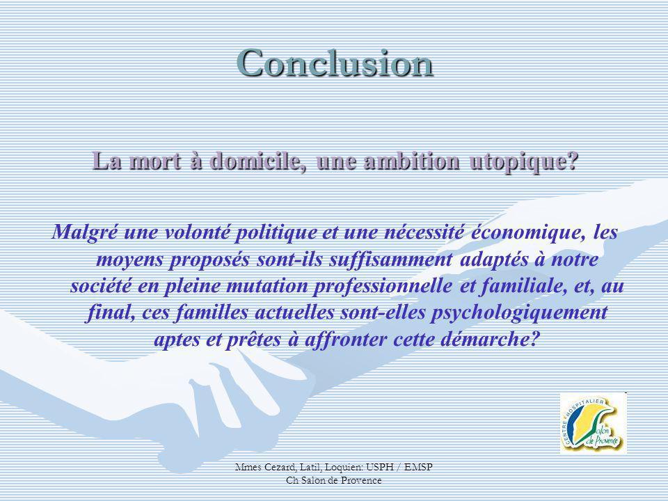 Mmes Cezard, Latil, Loquien: USPH / EMSP Ch Salon de Provence Conclusion La mort à domicile, une ambition utopique? Malgré une volonté politique et un