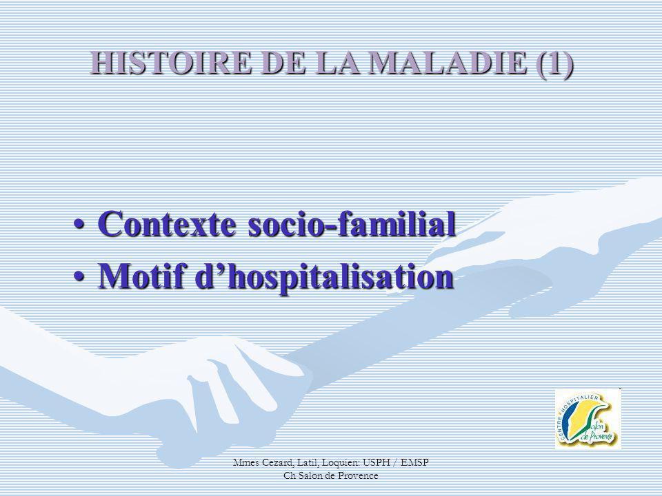 Mmes Cezard, Latil, Loquien: USPH / EMSP Ch Salon de Provence Contexte socio-familialContexte socio-familial Motif dhospitalisationMotif dhospitalisat