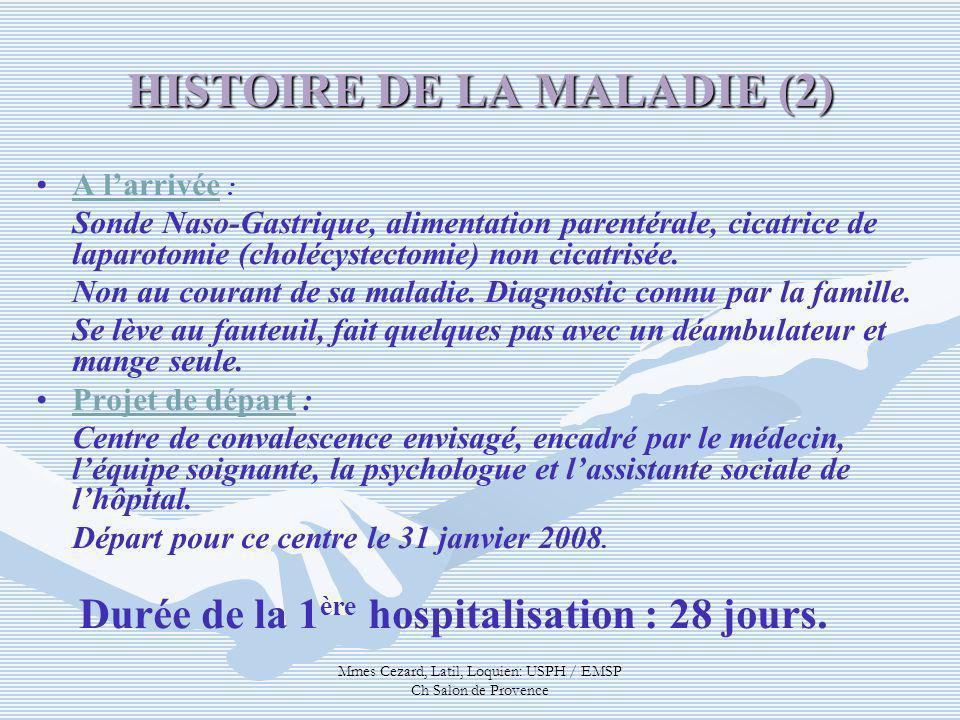 Mmes Cezard, Latil, Loquien: USPH / EMSP Ch Salon de Provence HISTOIRE DE LA MALADIE (2) A larrivée : Sonde Naso-Gastrique, alimentation parentérale,