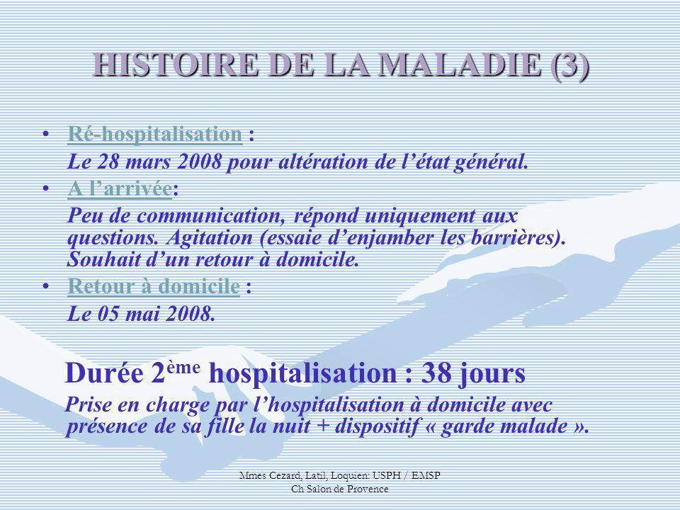 Mmes Cezard, Latil, Loquien: USPH / EMSP Ch Salon de Provence Ré-hospitalisation : Le 28 mars 2008 pour altération de létat général. A larrivée: Peu d