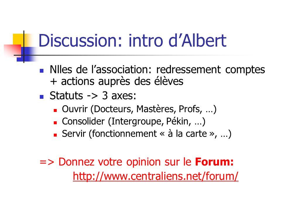 Discussion: intro dAlbert Nlles de lassociation: redressement comptes + actions auprès des élèves Statuts -> 3 axes: Ouvrir (Docteurs, Mastères, Profs