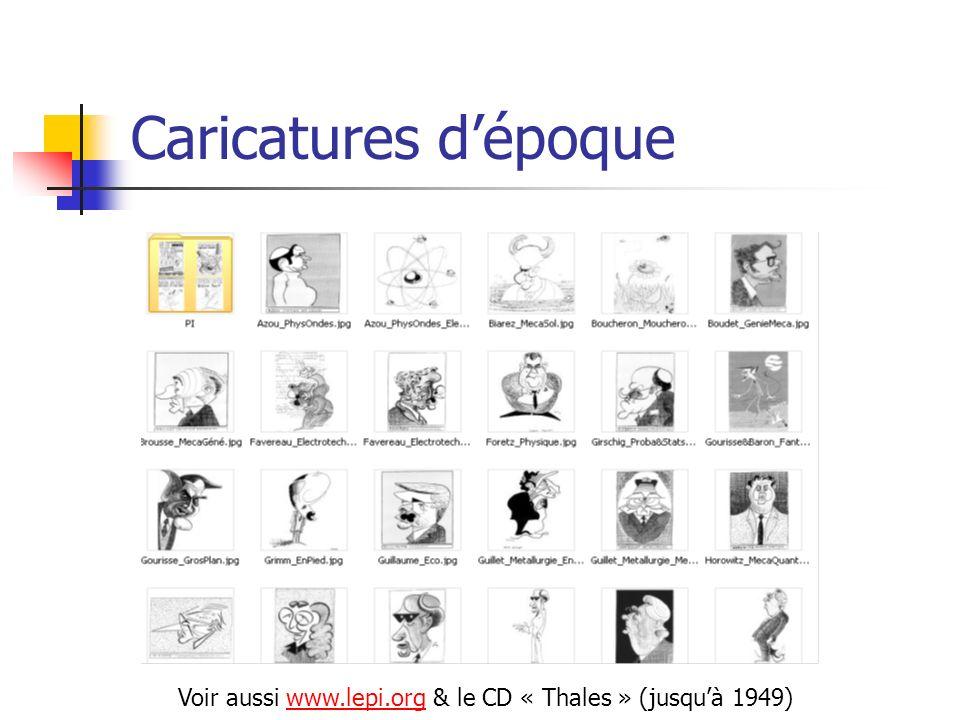 Caricatures dépoque Voir aussi www.lepi.org & le CD « Thales » (jusquà 1949)www.lepi.org