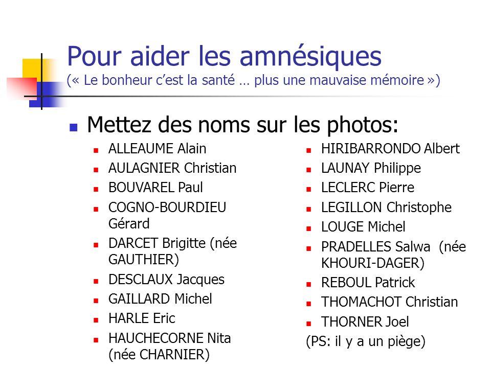 Pour aider les amnésiques (« Le bonheur cest la santé … plus une mauvaise mémoire ») Mettez des noms sur les photos: ALLEAUME Alain AULAGNIER Christia