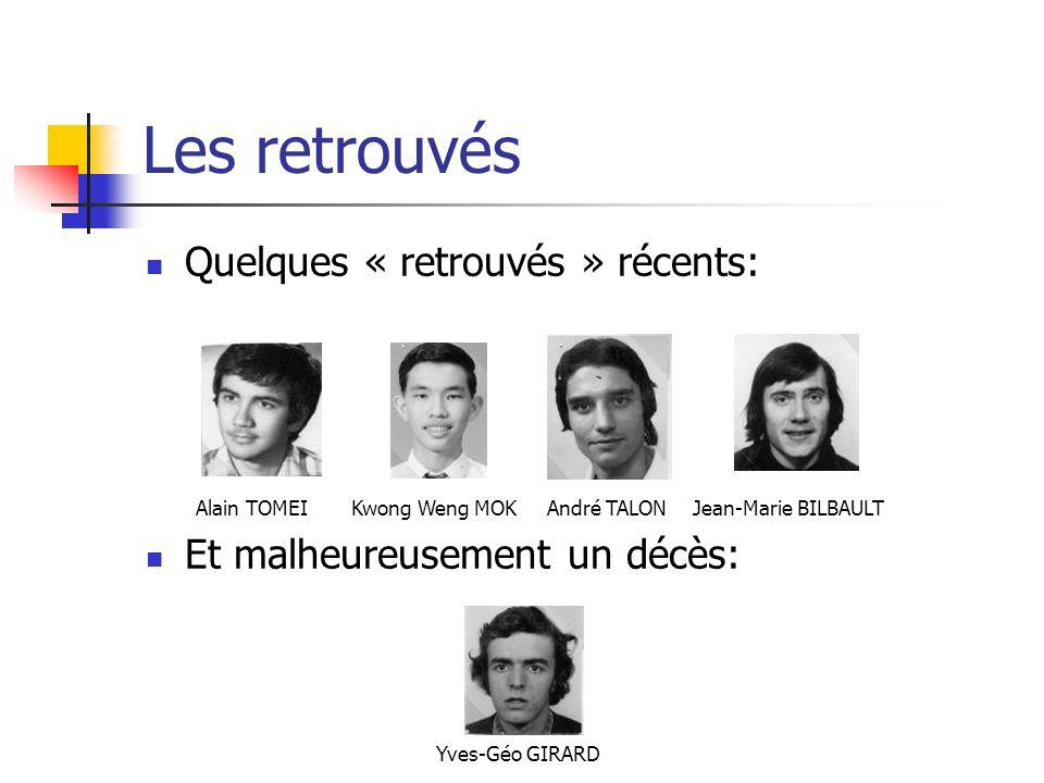 Les retrouvés Quelques « retrouvés » récents: Et malheureusement un décès: Alain TOMEIKwong Weng MOK Yves-Géo GIRARD Jean-Marie BILBAULTAndré TALON