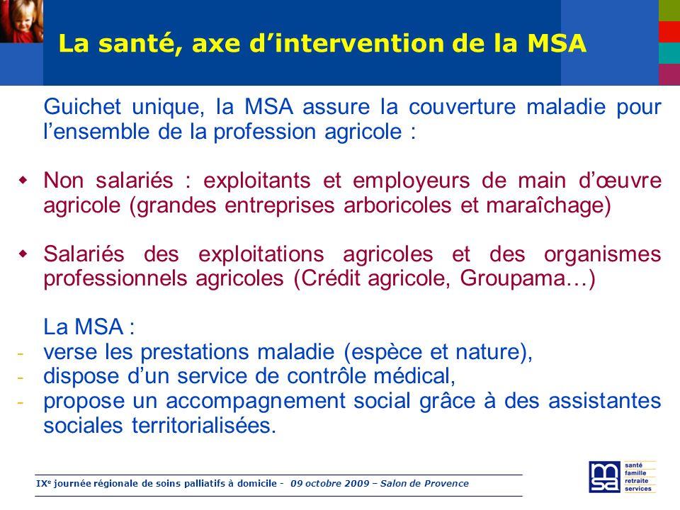 IX e journée régionale de soins palliatifs à domicile - 09 octobre 2009 – Salon de Provence La santé, axe dintervention de la MSA Guichet unique, la M