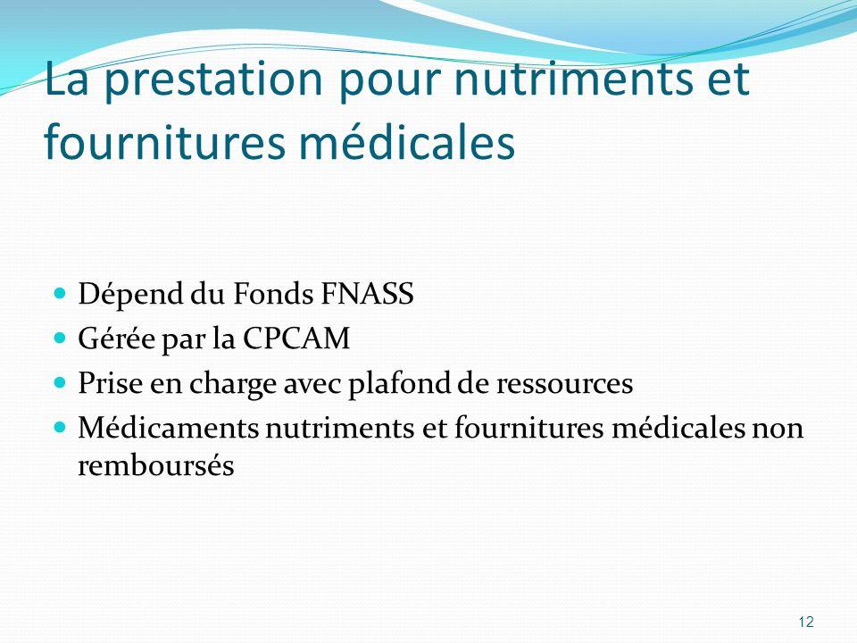La prestation pour nutriments et fournitures médicales Dépend du Fonds FNASS Gérée par la CPCAM Prise en charge avec plafond de ressources Médicaments nutriments et fournitures médicales non remboursés 12