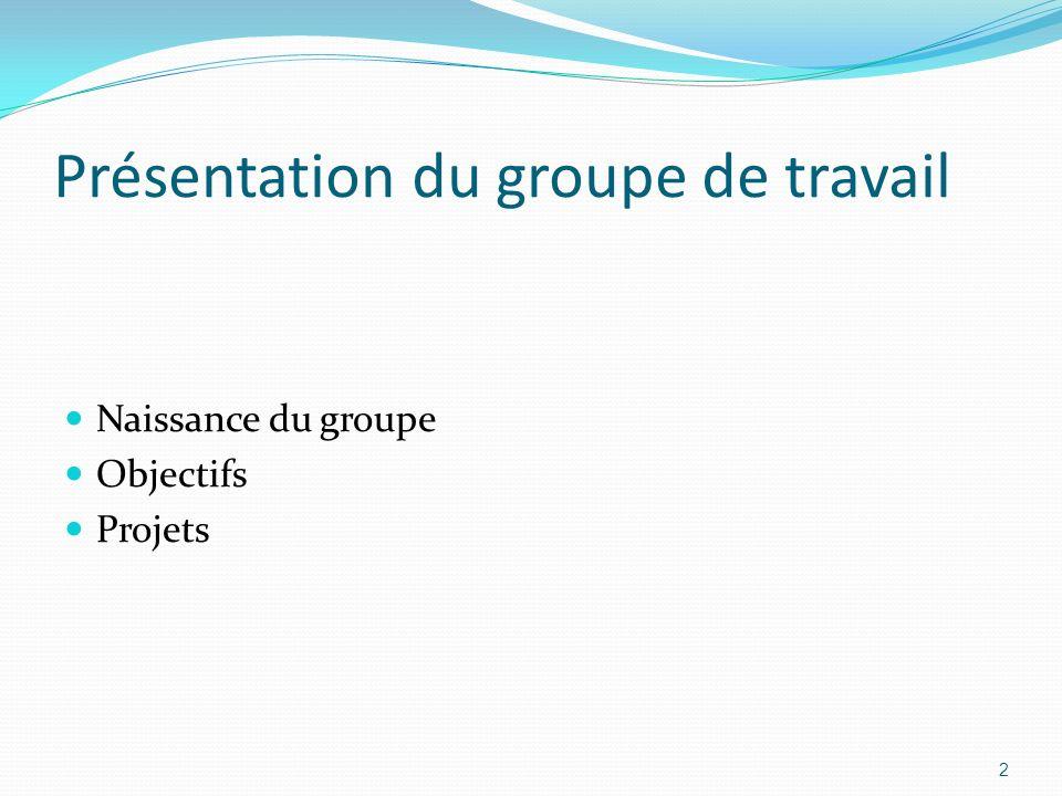 Présentation du groupe de travail Naissance du groupe Objectifs Projets 2