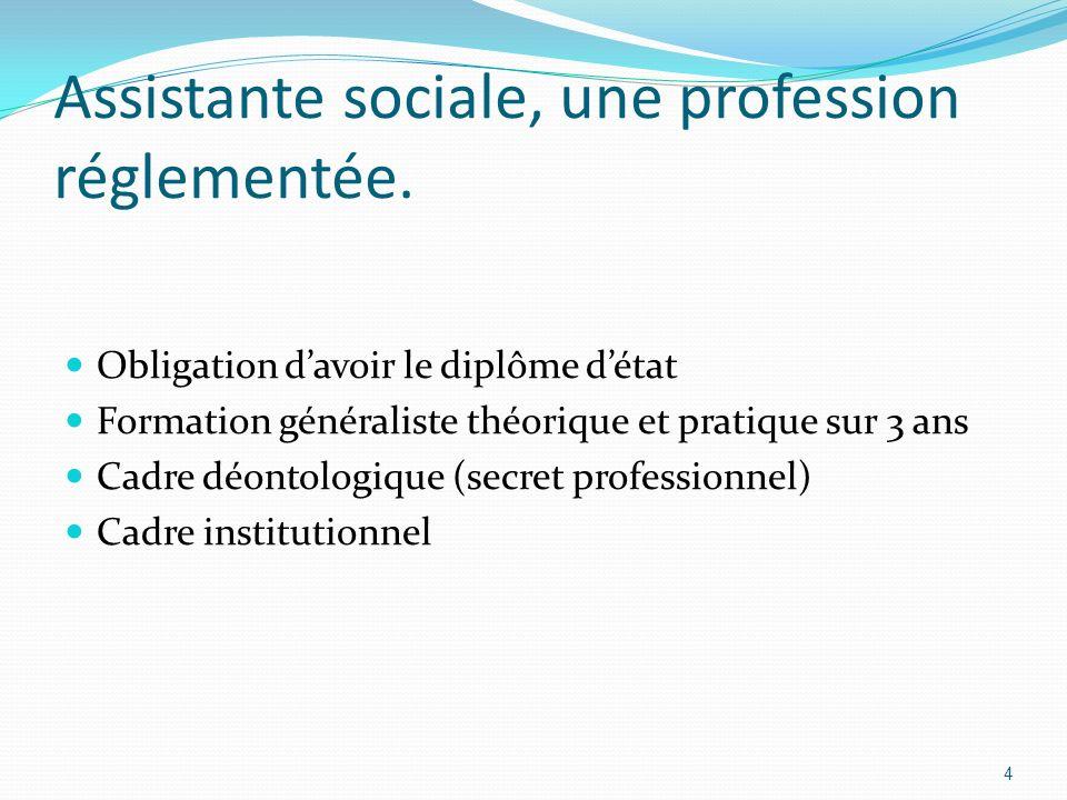 Assistante sociale, une profession réglementée.