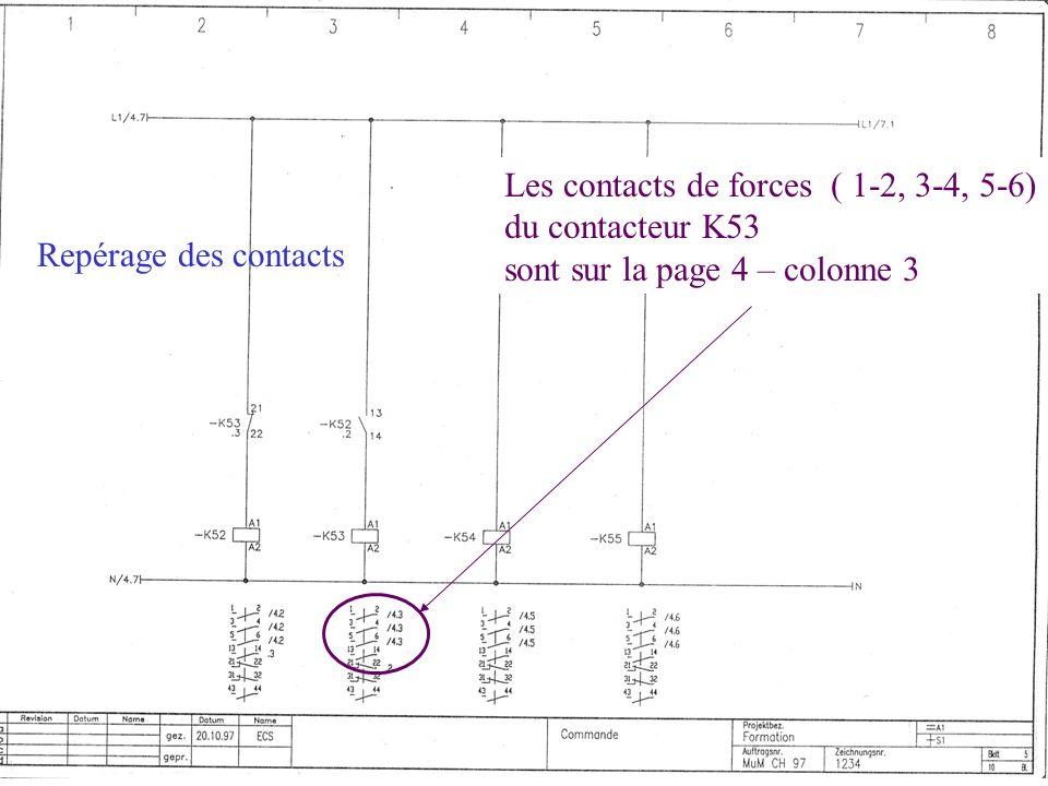 Repérage des contacts Les contacts de forces ( 1-2, 3-4, 5-6) du contacteur K53 sont sur la page 4 – colonne 3
