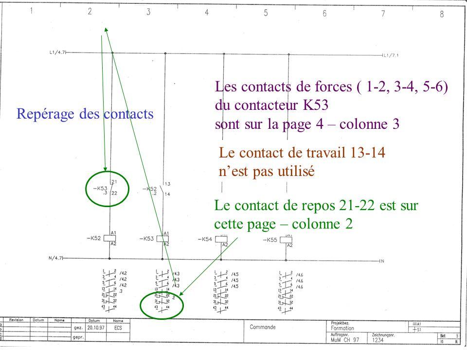 Repérage des contacts Les contacts de forces ( 1-2, 3-4, 5-6) du contacteur K53 sont sur la page 4 – colonne 3 Le contact de travail 13-14 nest pas ut