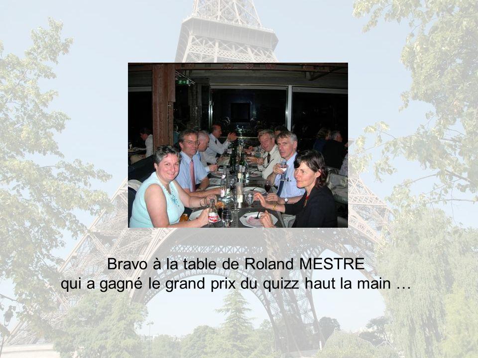 Bravo à la table de Roland MESTRE qui a gagné le grand prix du quizz haut la main …
