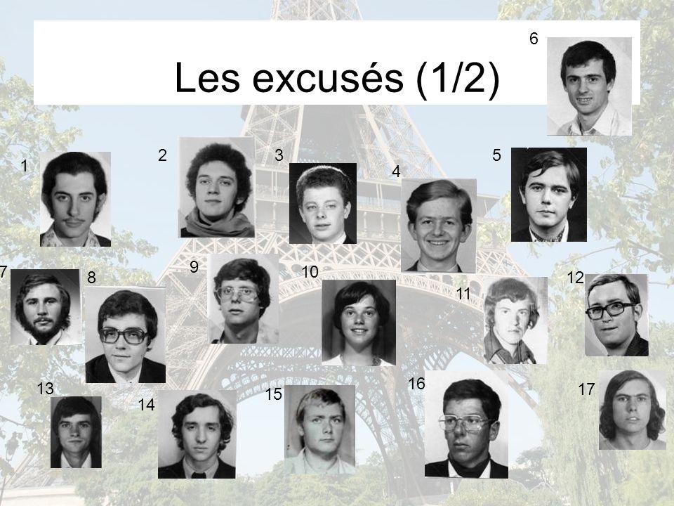 Les excusés (1/2) 1 23 4 5 6 7 8 9 10 11 12 13 14 15 16 17