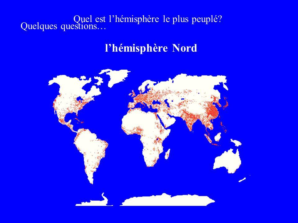 Quelques questions… Quel est lhémisphère le plus peuplé? lhémisphère Nord