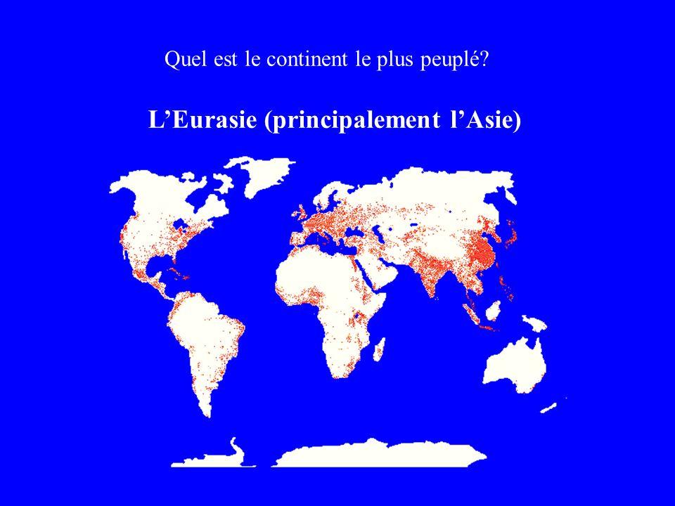 Quel est le continent le plus peuplé? LEurasie (principalement lAsie)
