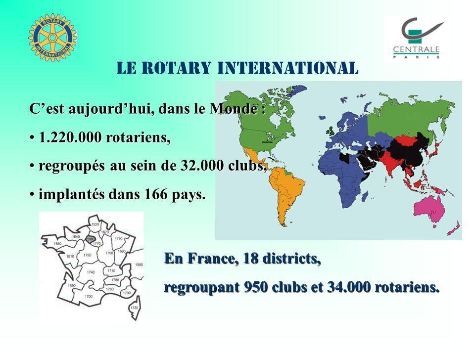 En France, 18 districts, regroupant 950 clubs et 34.000 rotariens. Cest aujourdhui, dans le Monde : 1.220.000 rotariens, 1.220.000 rotariens, regroupé