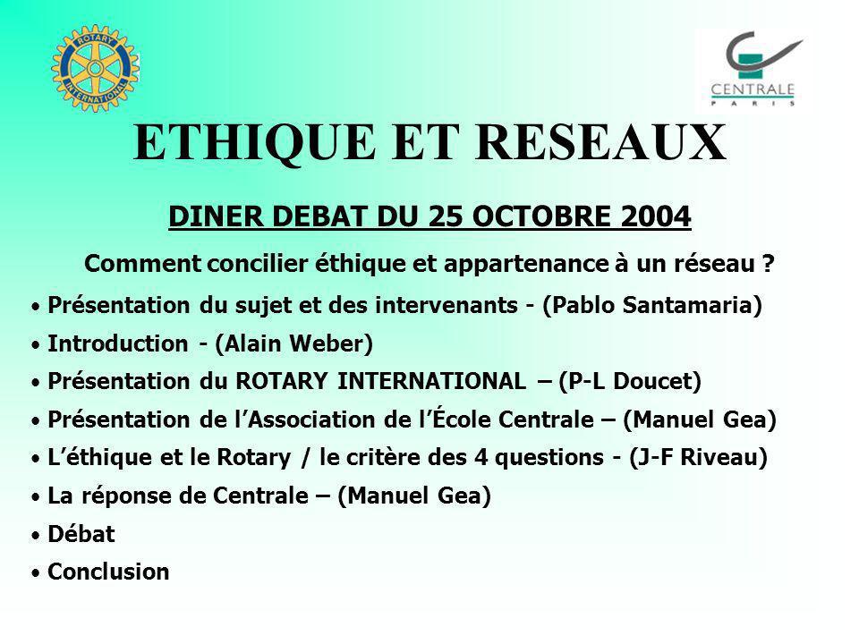 ETHIQUE ET RESEAUX DINER DEBAT DU 25 OCTOBRE 2004 Comment concilier éthique et appartenance à un réseau .