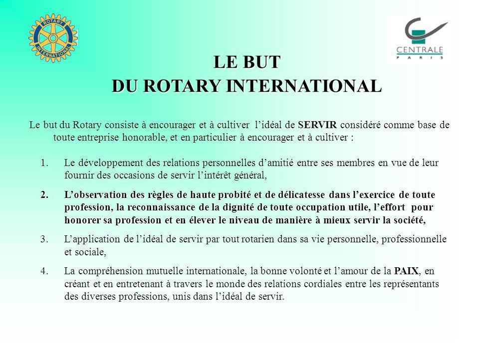 LE BUT DU ROTARY INTERNATIONAL SERVIR Le but du Rotary consiste à encourager et à cultiver lidéal de SERVIR considéré comme base de toute entreprise h