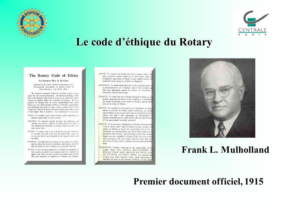 Le code déthique du Rotary Premier document officiel, 1915 Frank L. Mulholland