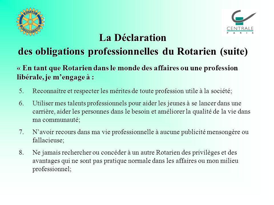 La Déclaration des obligations professionnelles du Rotarien (suite) 5.Reconnaître et respecter les mérites de toute profession utile à la société; 6.U