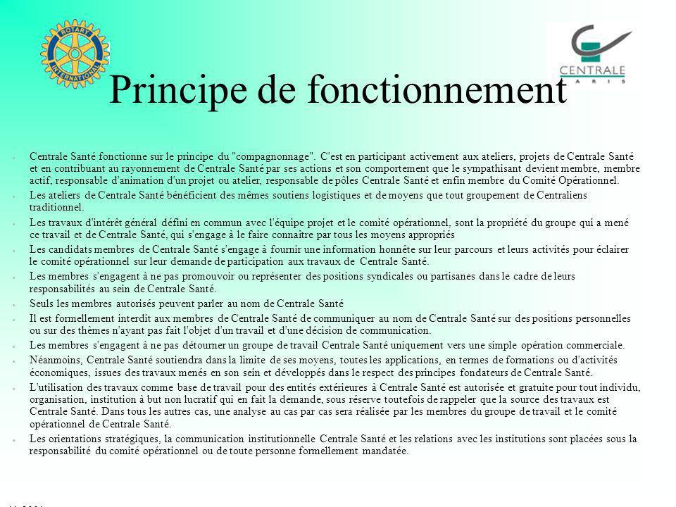 Principe de fonctionnement Centrale Santé fonctionne sur le principe du