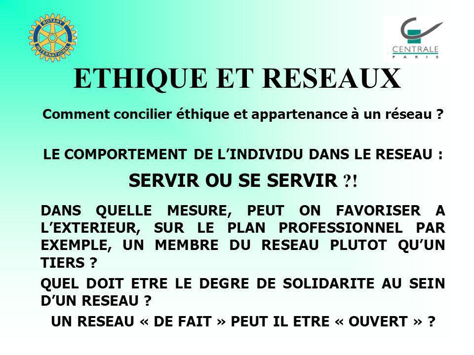 ETHIQUE ET RESEAUX Comment concilier ETHIQUE et APPARTENANCE A UN RESEAU .
