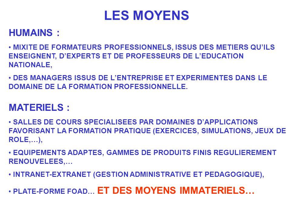 LES MOYENS HUMAINS : MIXITE DE FORMATEURS PROFESSIONNELS, ISSUS DES METIERS QUILS ENSEIGNENT, DEXPERTS ET DE PROFESSEURS DE LEDUCATION NATIONALE, DES