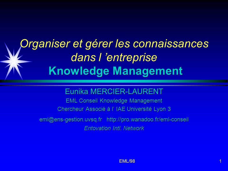 EML/981 Organiser et gérer les connaissances dans l entreprise Knowledge Management Eunika MERCIER-LAURENT EML Conseil Knowledge Management Chercheur