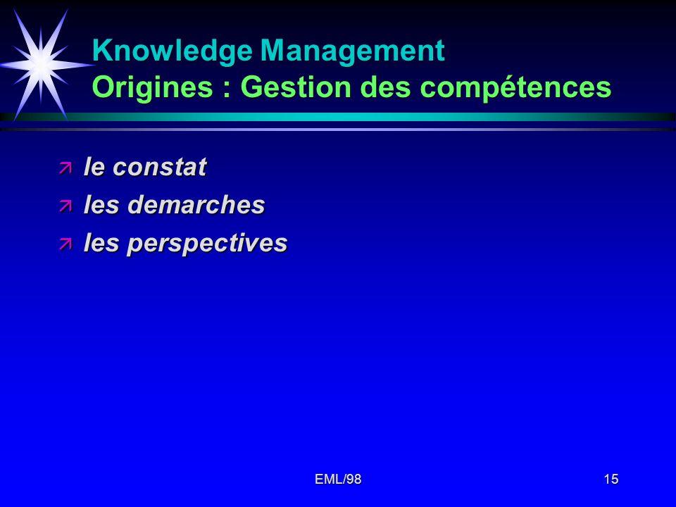 EML/9815 Knowledge Management Origines : Gestion des compétences ä le constat ä les demarches ä les perspectives