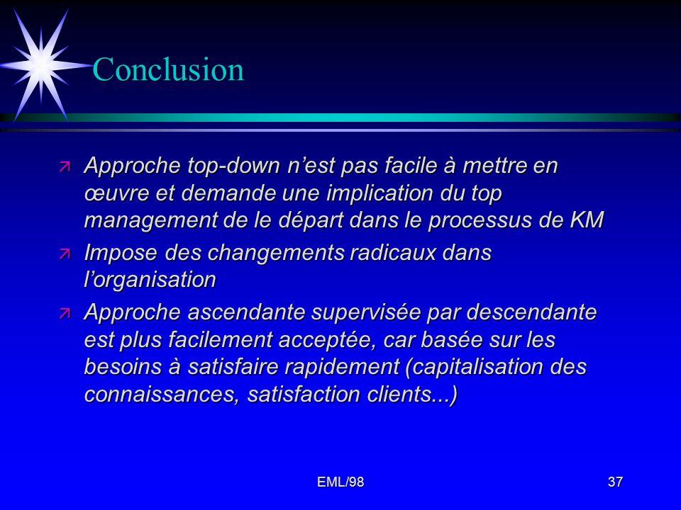 EML/9837 Conclusion ä Approche top-down nest pas facile à mettre en œuvre et demande une implication du top management de le départ dans le processus