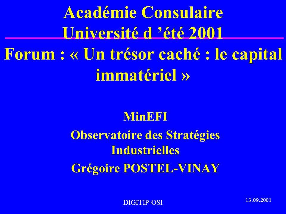 DIGITIP-OSI Académie Consulaire Université d été 2001 Forum : « Un trésor caché : le capital immatériel » MinEFI Observatoire des Stratégies Industrielles Grégoire POSTEL-VINAY 13.09.2001