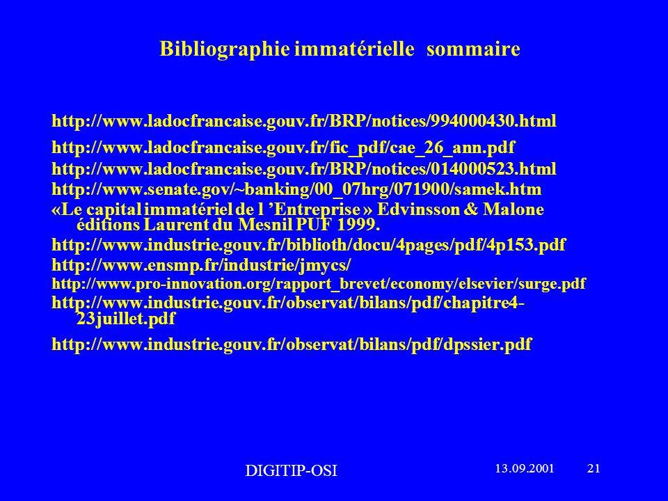 Bibliographie immatérielle sommaire http://www.ladocfrancaise.gouv.fr/BRP/notices/994000430.html http://www.ladocfrancaise.gouv.fr/fic_pdf/cae_26_ann.pdf http://www.ladocfrancaise.gouv.fr/BRP/notices/014000523.html http://www.senate.gov/~banking/00_07hrg/071900/samek.htm «Le capital immatériel de l Entreprise » Edvinsson & Malone éditions Laurent du Mesnil PUF 1999.