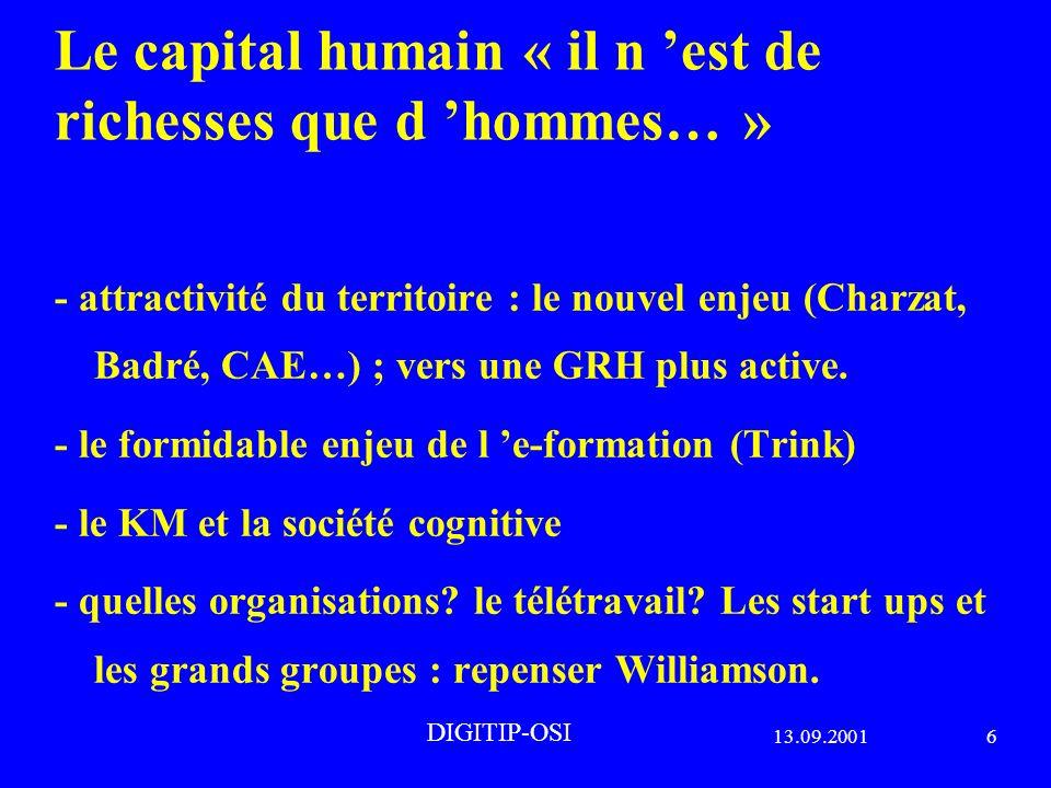 13.09.20016 DIGITIP-OSI Le capital humain « il n est de richesses que d hommes… » - attractivité du territoire : le nouvel enjeu (Charzat, Badré, CAE…) ; vers une GRH plus active.