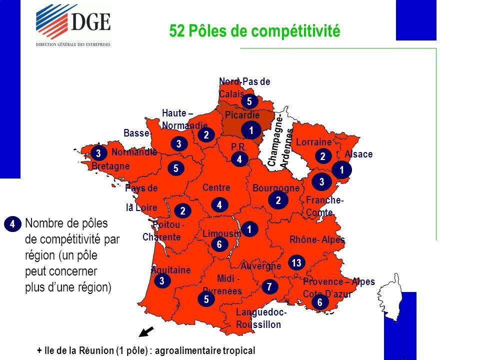 52 Pôles de compétitivité + Ile de la Réunion (1 pôle) : agroalimentaire tropical Provence – Alpes Cote Dazur Pays de la Loire Centre Midi - Pyrenées Bourgogne P.R.