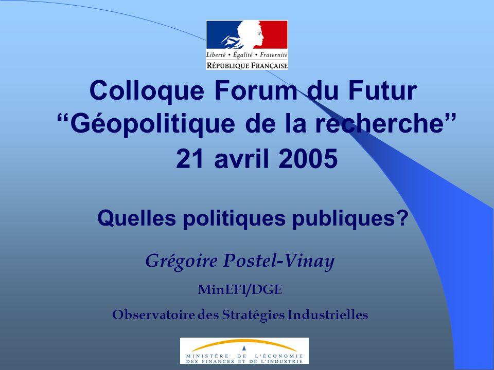 Colloque Forum du Futur Géopolitique de la recherche 21 avril 2005 Quelles politiques publiques? Grégoire Postel-Vinay MinEFI/DGE Observatoire des Str