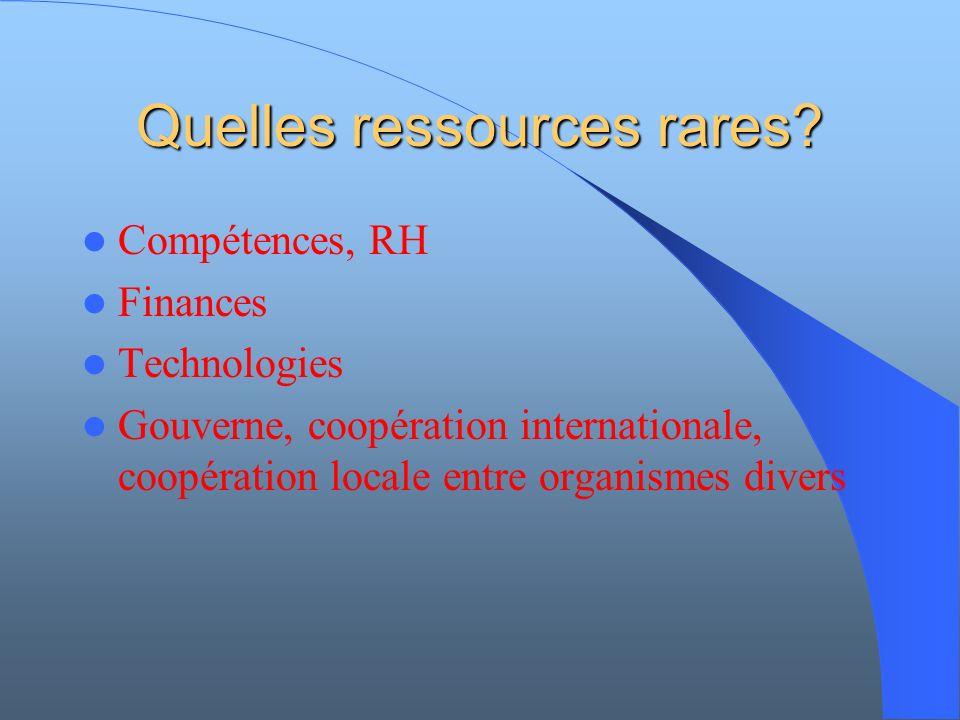 Quelles ressources rares? Compétences, RH Finances Technologies Gouverne, coopération internationale, coopération locale entre organismes divers