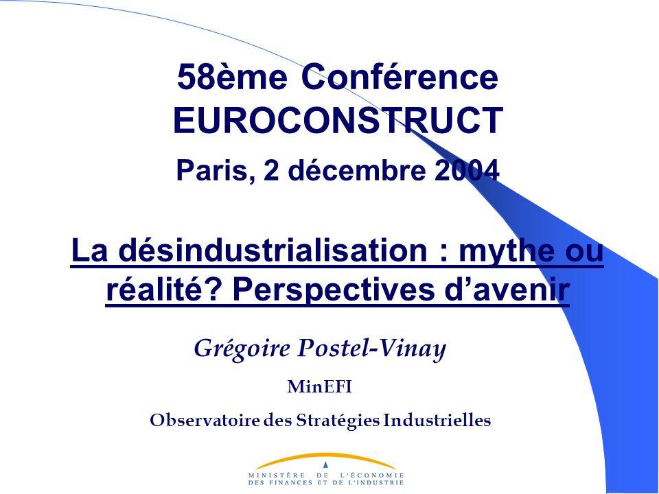 58ème Conférence EUROCONSTRUCT Paris, 2 décembre 2004 La désindustrialisation : mythe ou réalité.