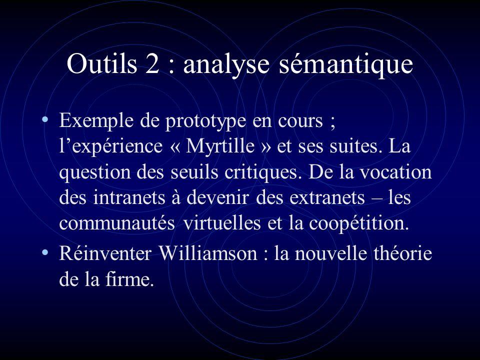 Outils 2 : analyse sémantique Exemple de prototype en cours ; lexpérience « Myrtille » et ses suites.
