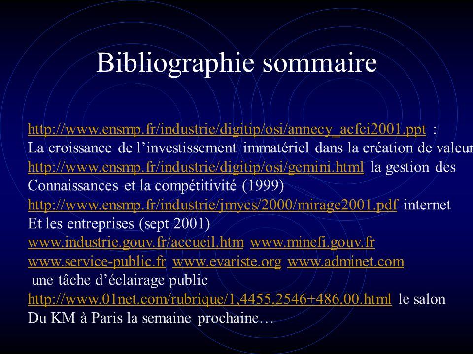 Bibliographie sommaire http://www.ensmp.fr/industrie/digitip/osi/annecy_acfci2001.ppthttp://www.ensmp.fr/industrie/digitip/osi/annecy_acfci2001.ppt : La croissance de linvestissement immatériel dans la création de valeur http://www.ensmp.fr/industrie/digitip/osi/gemini.htmlhttp://www.ensmp.fr/industrie/digitip/osi/gemini.html la gestion des Connaissances et la compétitivité (1999) http://www.ensmp.fr/industrie/jmycs/2000/mirage2001.pdfhttp://www.ensmp.fr/industrie/jmycs/2000/mirage2001.pdf internet Et les entreprises (sept 2001) www.industrie.gouv.fr/accueil.htmwww.industrie.gouv.fr/accueil.htm www.minefi.gouv.frwww.minefi.gouv.fr www.service-public.frwww.service-public.fr www.evariste.org www.adminet.comwww.evariste.orgwww.adminet.com une tâche déclairage public http://www.01net.com/rubrique/1,4455,2546+486,00.htmlhttp://www.01net.com/rubrique/1,4455,2546+486,00.html le salon Du KM à Paris la semaine prochaine…