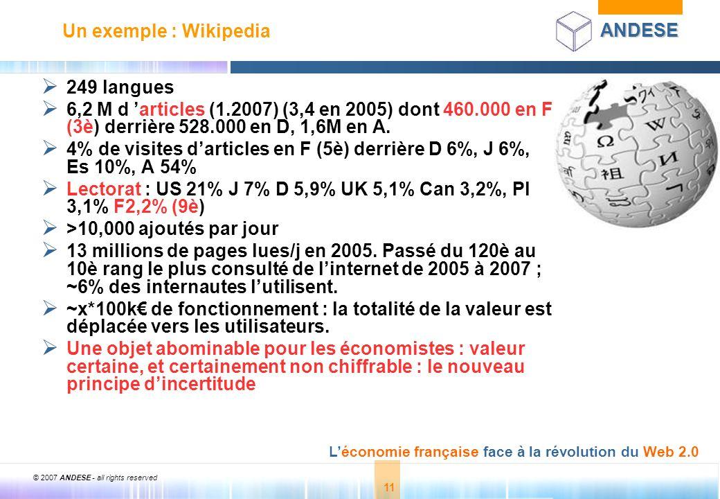 © 2007 ANDESE - all rights reserved 11 ANDESE Léconomie française face à la révolution du Web 2.0 11 Un exemple : Wikipedia 249 langues 6,2 M d articl