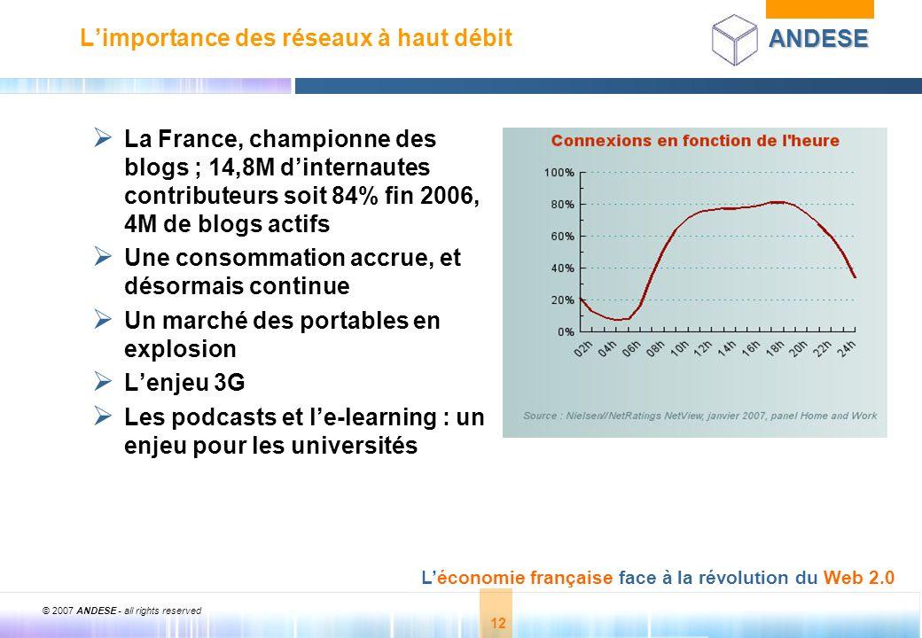 © 2007 ANDESE - all rights reserved 12 ANDESE Léconomie française face à la révolution du Web 2.0 12 Limportance des réseaux à haut débit La France, c