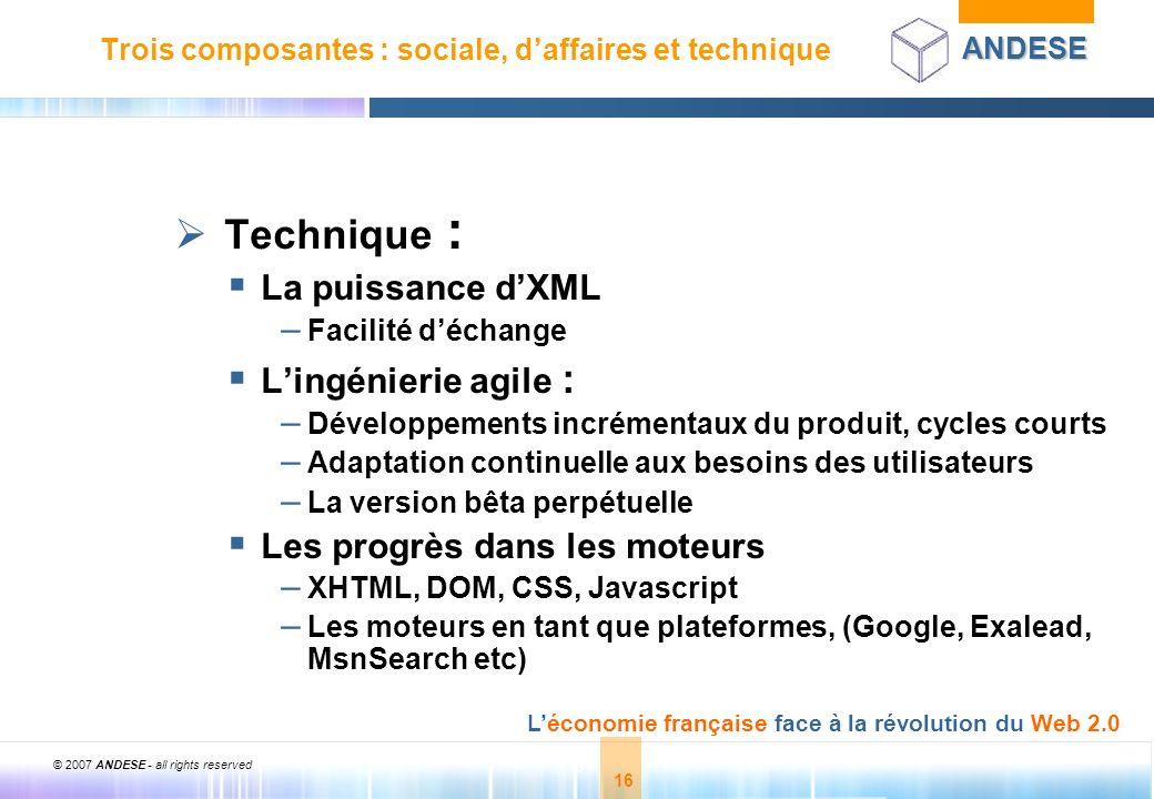 © 2007 ANDESE - all rights reserved 16 ANDESE Léconomie française face à la révolution du Web 2.0 16 Trois composantes : sociale, daffaires et techniq
