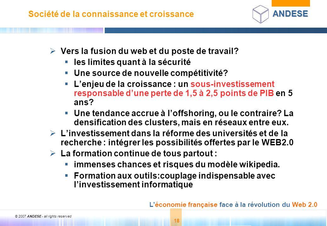 © 2007 ANDESE - all rights reserved 18 ANDESE Léconomie française face à la révolution du Web 2.0 18 Société de la connaissance et croissance Vers la