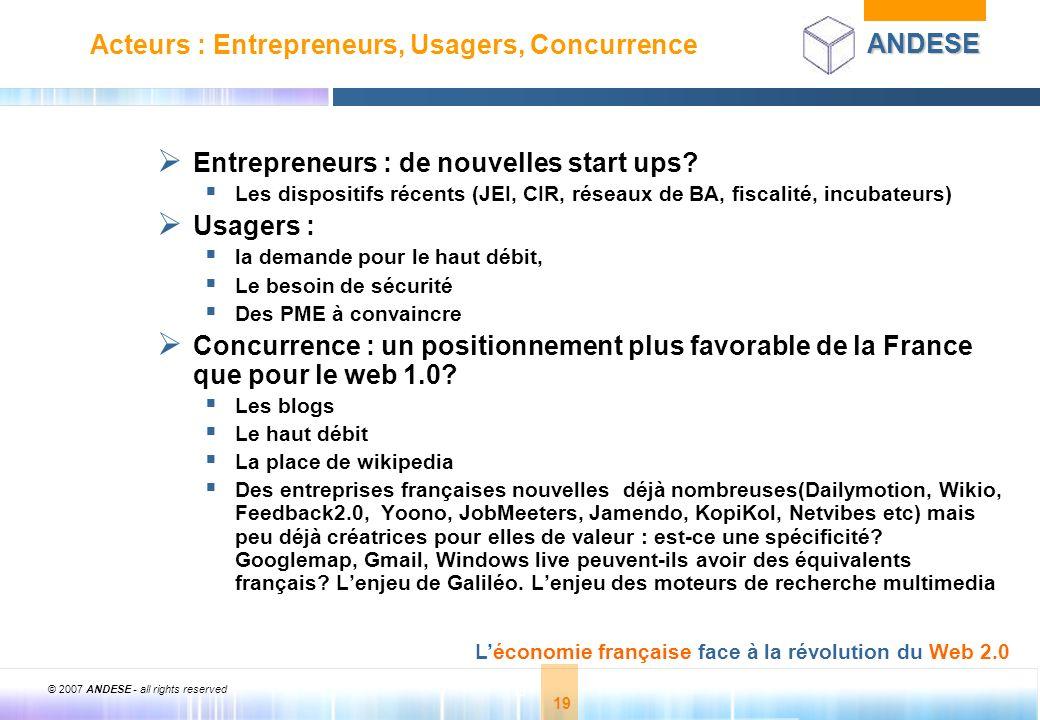 © 2007 ANDESE - all rights reserved 19 ANDESE Léconomie française face à la révolution du Web 2.0 19 Acteurs : Entrepreneurs, Usagers, Concurrence Ent