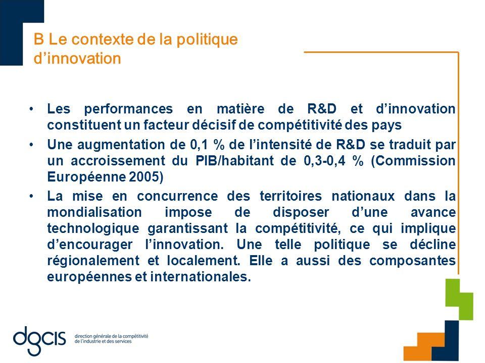 B Le contexte de la politique dinnovation Les performances en matière de R&D et dinnovation constituent un facteur décisif de compétitivité des pays U