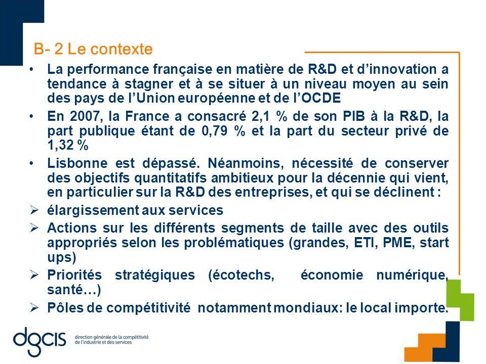 B- 2 Le contexte La performance française en matière de R&D et dinnovation a tendance à stagner et à se situer à un niveau moyen au sein des pays de l