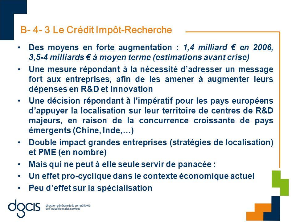 B- 4- 3 Le Crédit Impôt-Recherche Des moyens en forte augmentation : 1,4 milliard en 2006, 3,5-4 milliards à moyen terme (estimations avant crise) Une