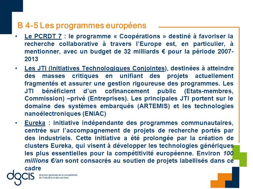 B 4-5 Les programmes européens Le PCRDT 7 : le programme « Coopérations » destiné à favoriser la recherche collaborative à travers lEurope est, en par