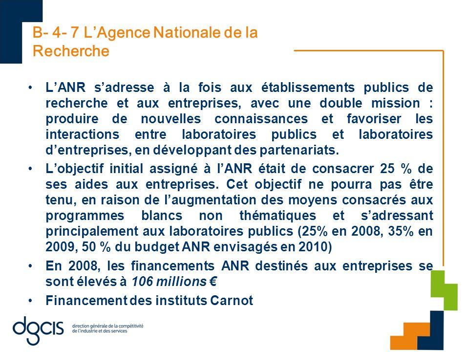 B- 4- 7 LAgence Nationale de la Recherche LANR sadresse à la fois aux établissements publics de recherche et aux entreprises, avec une double mission