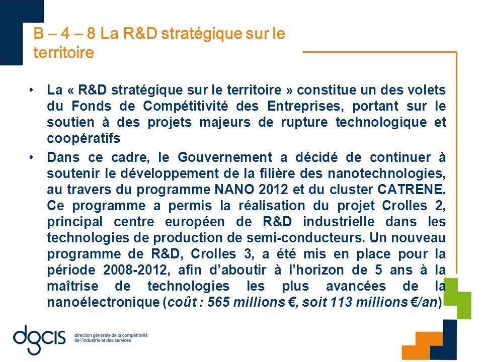 B – 4 – 8 La R&D stratégique sur le territoire La « R&D stratégique sur le territoire » constitue un des volets du Fonds de Compétitivité des Entrepri